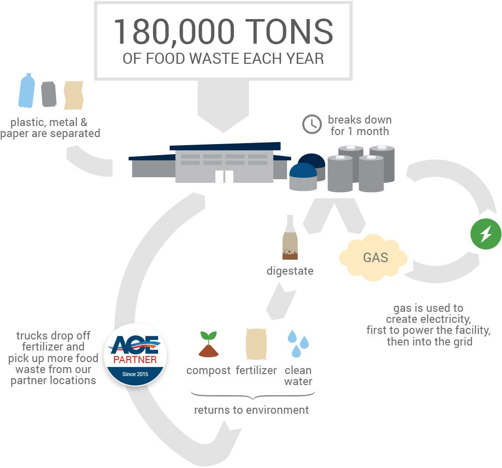 American Organic Energy: the Anaerobic Digester process infographic