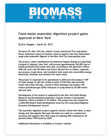 Food-waste anaerobic digestion project gains approval in New York