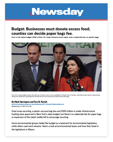 Budget- Businesses must donate excess food; counties can decide paper bags fee