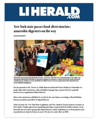 LI Herald-New York state passes food-diversion law; anaerobic digesters on the way