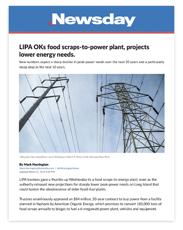 LIPA OKs food scraps-to-power plant, projects lower energy needs.