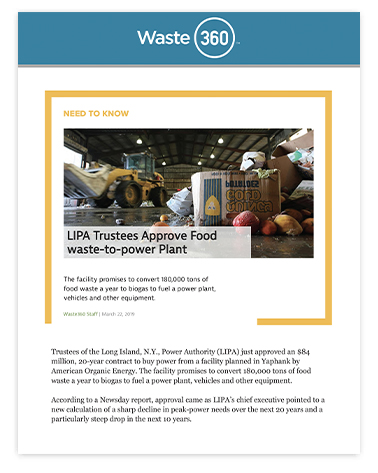 LIPA Trustees Approve Food waste-to-power Plant
