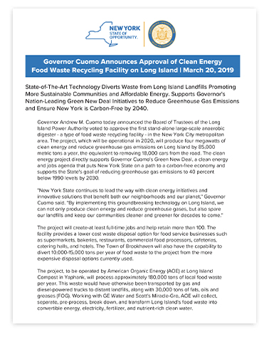 Governor Cuomo Announces Approval of Clean Energy Food Waste Recycling Facility on Long Island