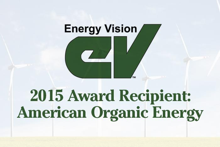 Text Graphic - Energy Vision - 2015 Award Recipient: American Organic Energy