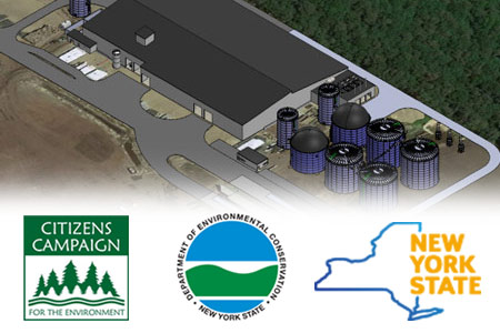 Citizens Campaign logo - NYS Department of Environmental Conservation logo - NYS Logo over rendering of AOE site