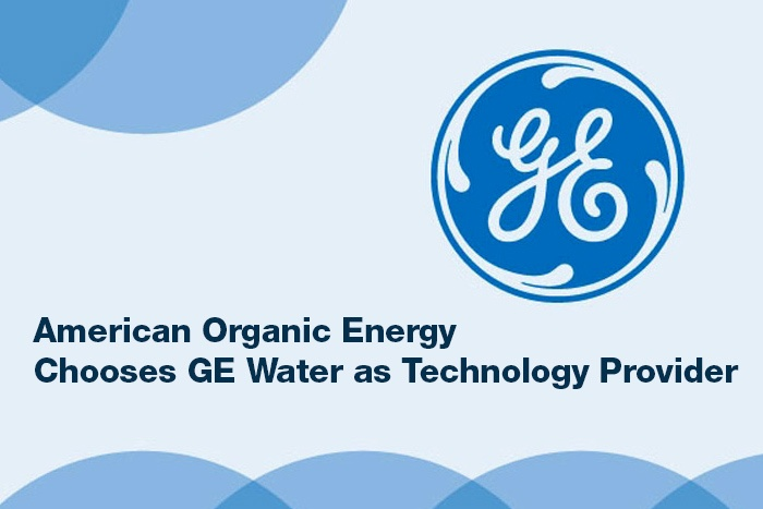 AOE choosed GE water as technology provider text image with GE logo