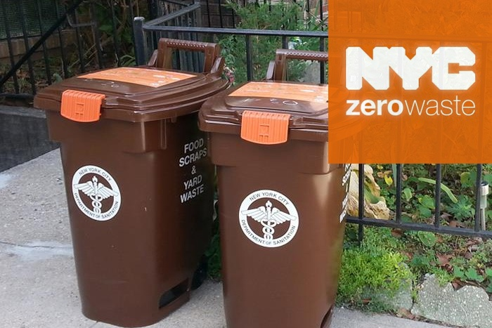 NYC Zero Waste Logo on top of image of garbage cans