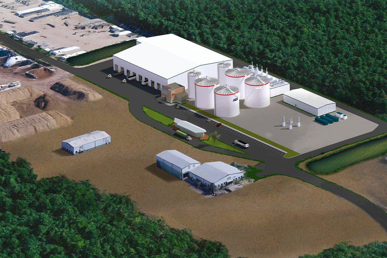 Overhead view of Rendering of AOE plant