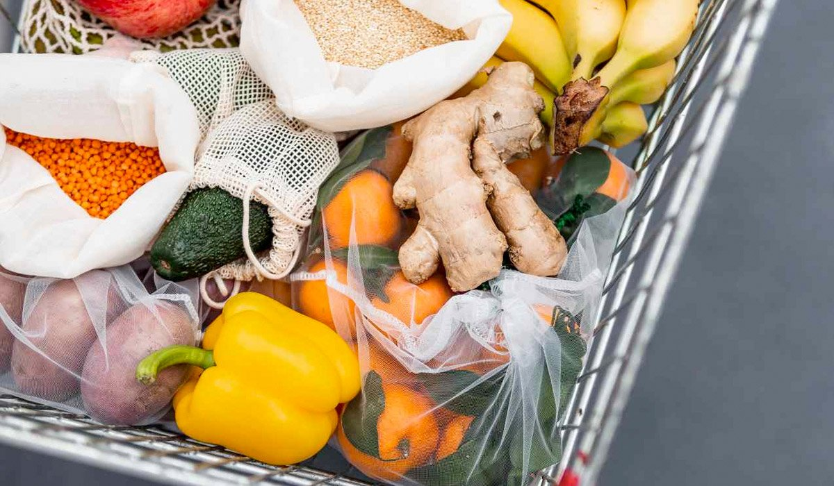 various fruit and vegetables in a shopping cart